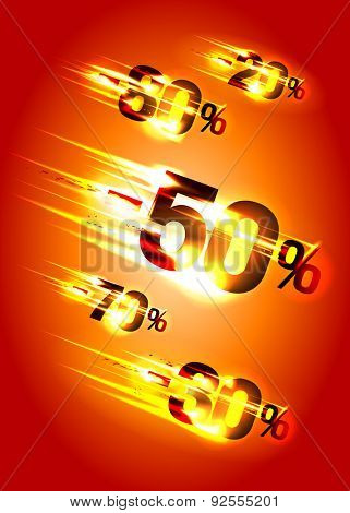 Meteor rain discounts, sale background, rasterized version.