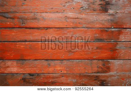 old dirty wooden wall, red background, vector