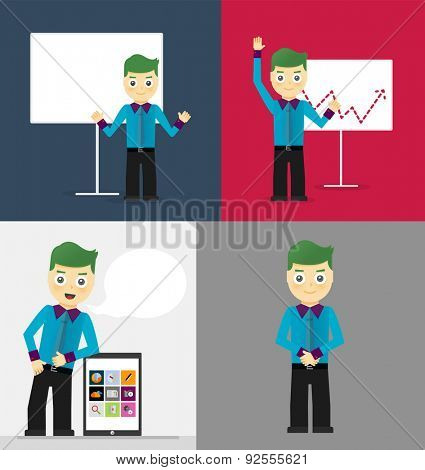 Poses of young businessmen, presentation on white board, leaning on tablet concept and confident positive pose. Set of illustrations