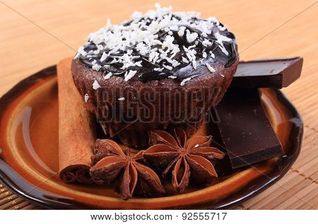 Baked Muffins With Pieces Of Chocolate And Anise