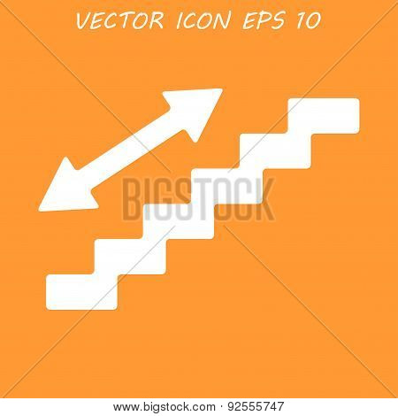 Staircase Symbol. Flat Design Style