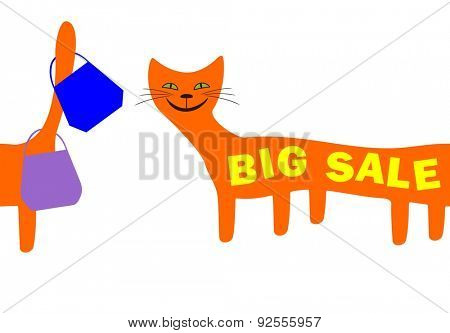 Big sale. Card with funny red cat
