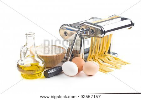the pasta machine with ingredients