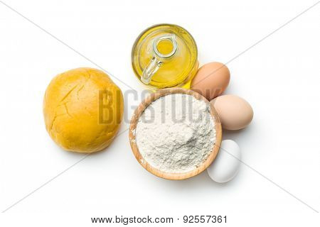 the dough and ingredients for preparing pasta