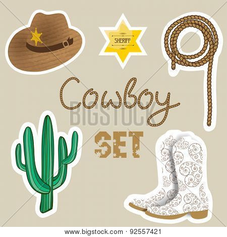 Cowboy set. Wild west background for your design. Cowboy elements set.  Boots,  sherif star, cactus, hat and lasso on pastel color  background.