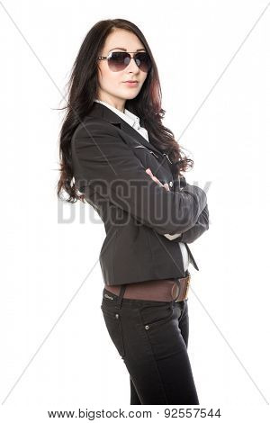 young attractive business woman isolated on white background