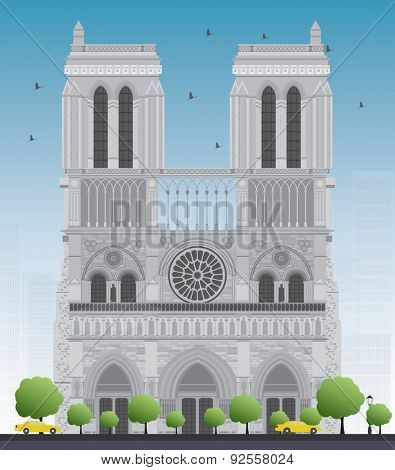 Notre Dame Cathedral - Paris. Vector illustration