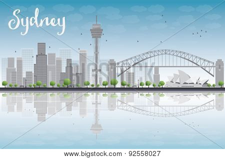 Sydney City skyline with blue sky and skyscrapers. Vector illustration