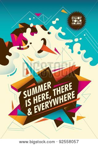 Summer poster design with abstraction. Vector illustration.