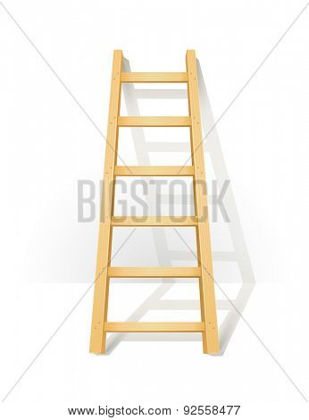 Wooden step ladders stand near white wall. Vector illustration