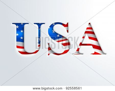 Glossy national flag color nation USA on shiny sky blue background for 4th of July, American Independence Day celebration