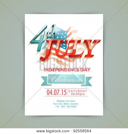Stylish invitation card with 3D glossy text 4th of July on national flag for American Independence Day celebration.