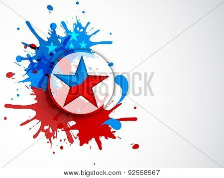 Sticker, tag or label with star on nationl flag color splash for 4th of July, American Independence Day celebration.