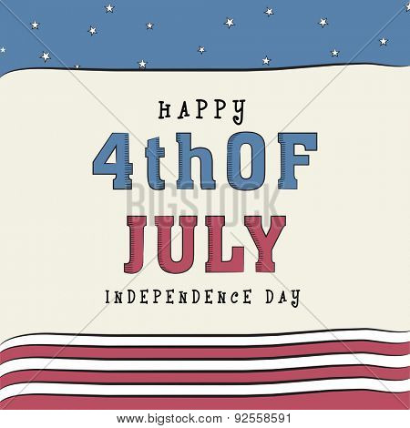 4th of July, American Independence Day celebration greeting card in national flag color.