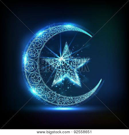 Creative glossy crescent moon with star in blue color for Muslim community festival, Eid celebration.