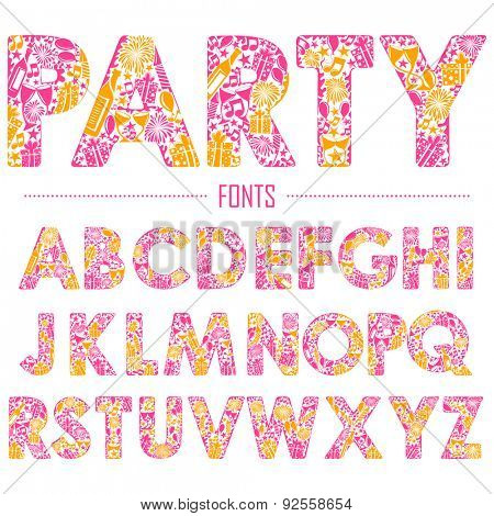 illustration of set of English alphabet for party design