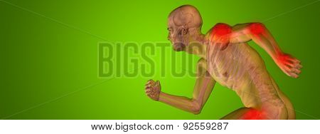 Conceptual 3D human man anatomy or health design, joint or articular pain, ache or injury over green gradient background