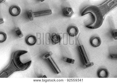 Metal components and tools closeup