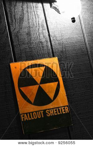 Vintage Fallout Nuclear Bomb Shelter Sign