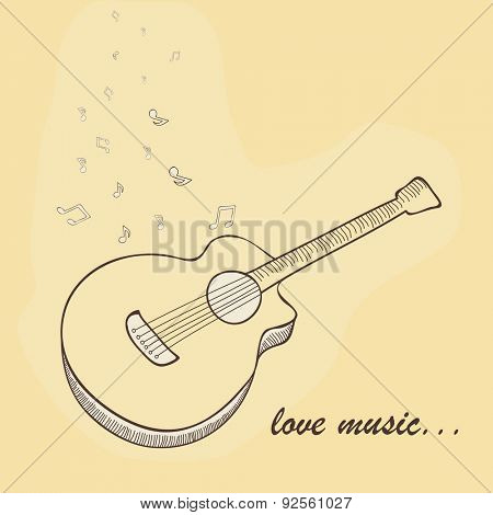 Illustration of guitar with musical notes and text Love Music on vintage background.