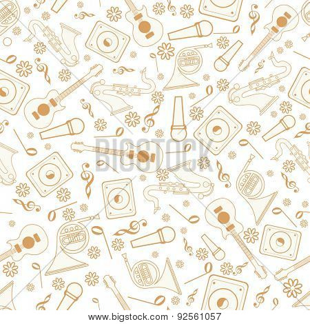 Musical notes with musical instrument on seamless beige background.