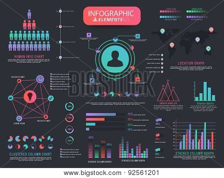 A big set of various creative infographic elements including statistical graphs and charts for business or corporate sector.