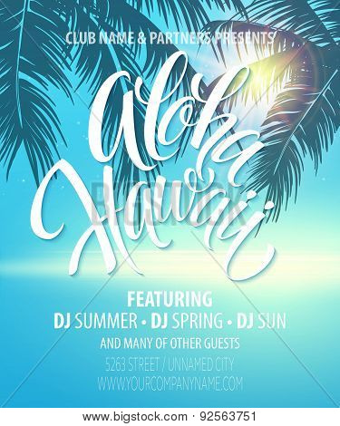 Aloha Hawaii  Summer Beach Party Poster. Vector illustration