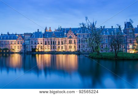 Twilight At Binnenhof Palace, Place Of Parliament In The Hague.