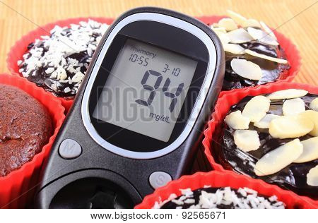 Glucose Meter And Chocolate Muffins In Red Cups