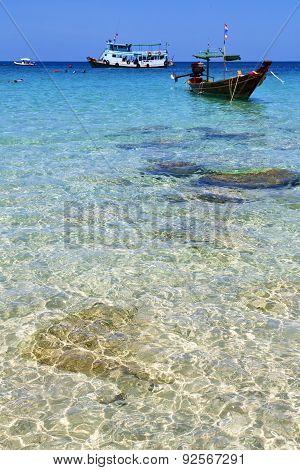 Asia Kho Isle White  Beach Boat Thailand  And South China Sea