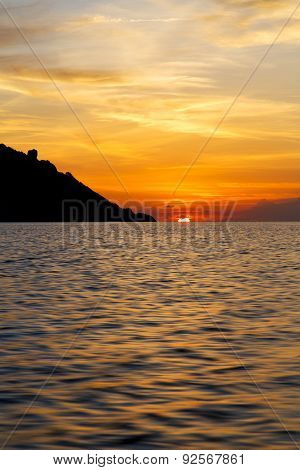 Sunrise Boat  And Sea In  Kho Tao Bay Coastline   China Sea