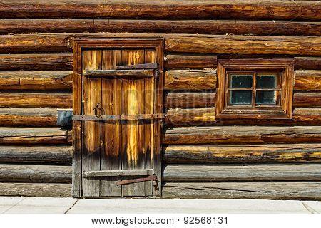door in log wall