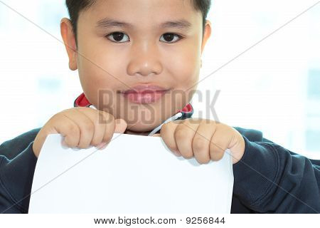 Boy Holding A White Blank Card