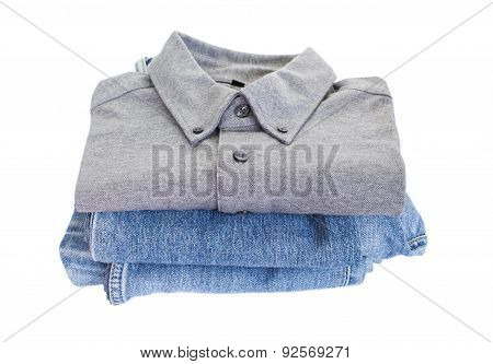 Grey cotton shirt and blue jean