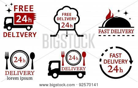 set icons for delivery food services