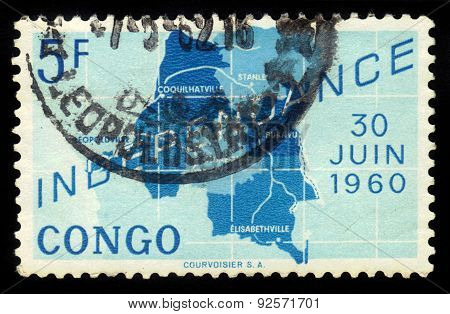 Map Of Independent Republic Of Congo
