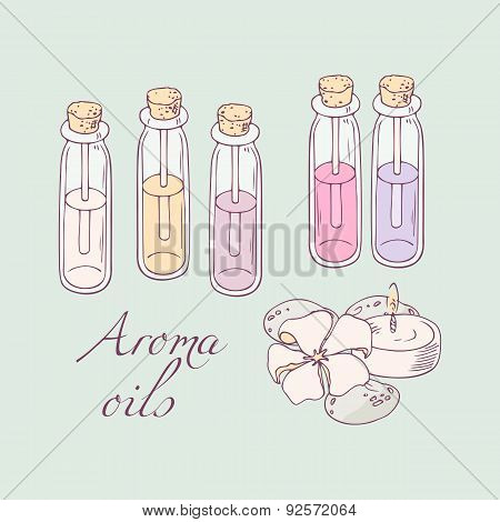 Aromatherapy oils for spa hand drawn vector illustration
