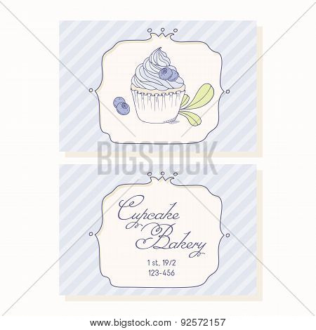 Hand drawn blueberry cupcake business cards template for pastry shop