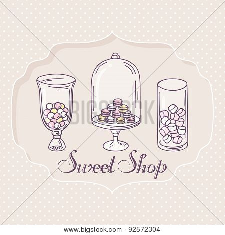 Hand drawn candy bar objects. Pastry shop label with sweets