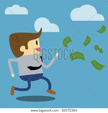 Businessman running after money bills.