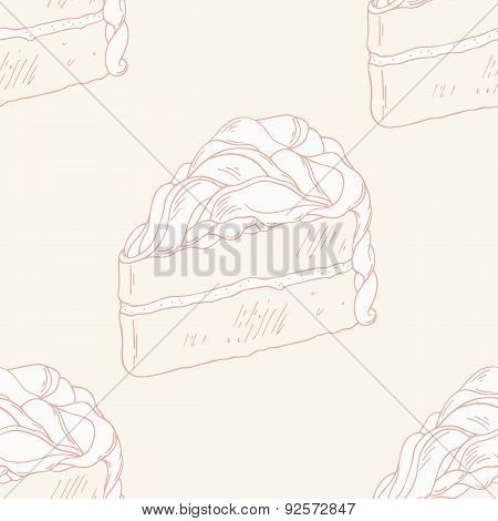 Outline seamless pattern with hand drawn cake