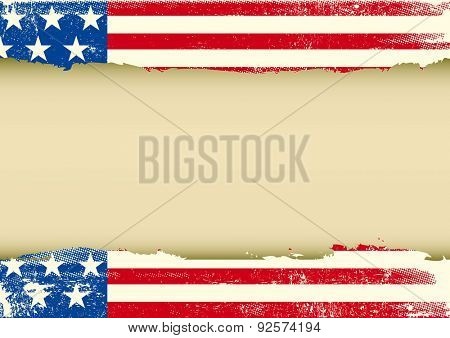 American horizontal scratched flag. An american background with a scratched frame for your message