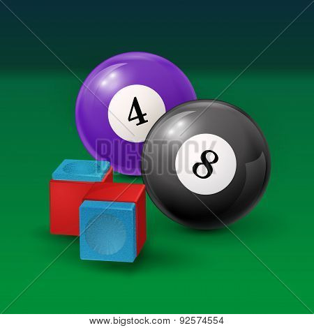 Pool table background  illustration with billiard balls and billiard chalk