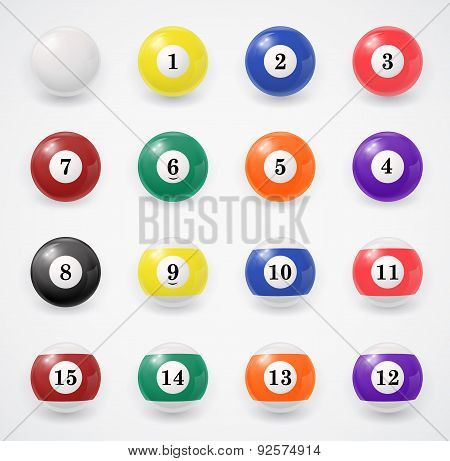 Complete set of billiard balls on a white background