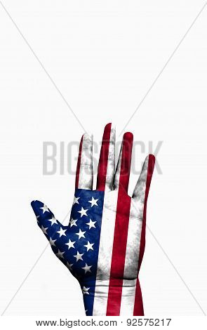 Open Hand Raised, Multi Purpose Concept, Usa (united States Of America) Flag Painted