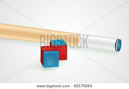 Billiard cue and pool chalk