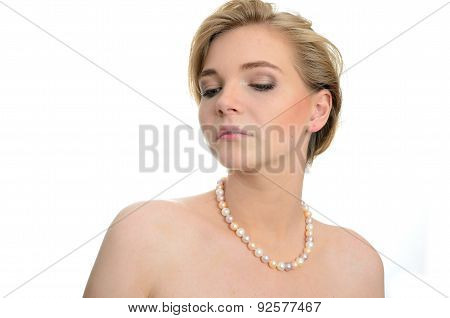 Female Model With Pearls Necklace