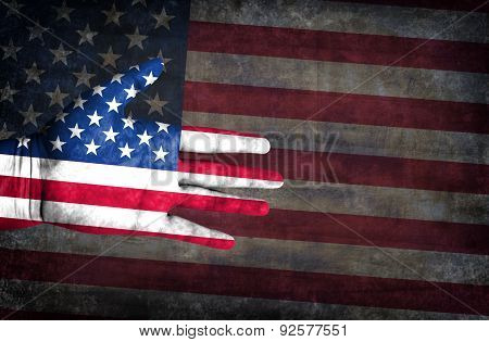 Flag Of Usa Painted On A Man's Hand