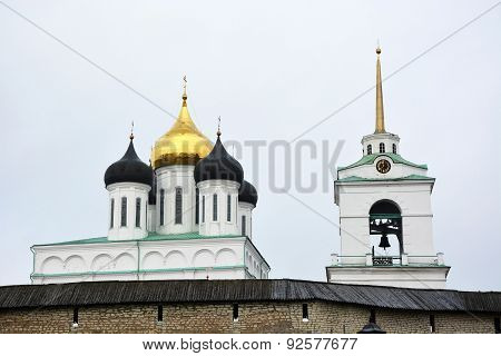 Famous Trinity Cathedral In Pskov City, Russia