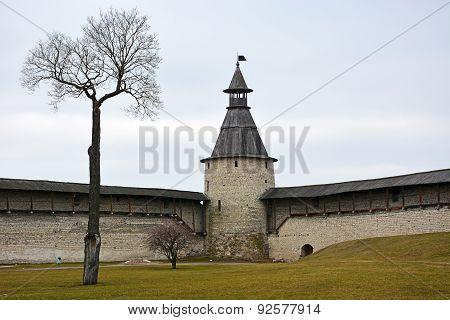 Pskov Kremlin With Single Naked Tree In Front